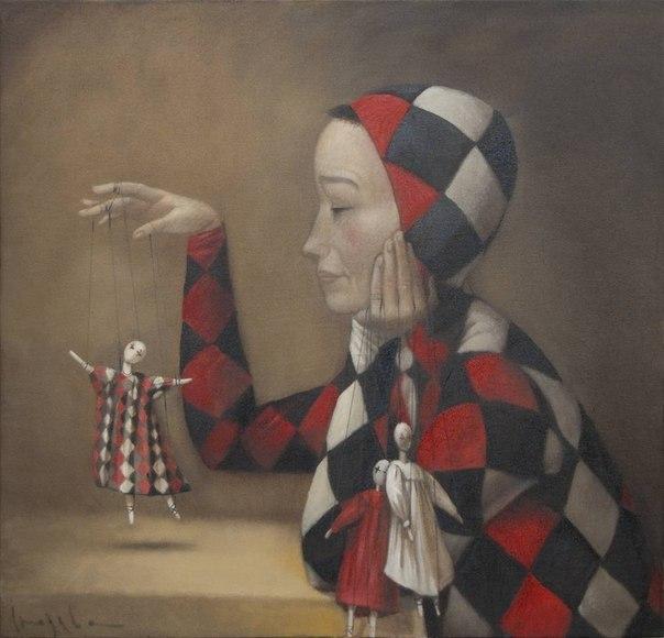Основные манипуляции заказчика прекрасно иллюстрирует картина Натальи Сюзевой «Кукловод» («Puppet master»).